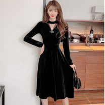 Dress Spring 2021 black S,M,L,XL,2XL Mid length dress singleton  Long sleeves commute V-neck High waist Solid color Socket A-line skirt routine Hanging neck style 18-24 years old Type A Retro Hollow out, inlaid with diamond, splicing, nail bead, gauze net other