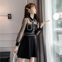 Dress Autumn of 2019 black S,M,L,XL,2XL Short skirt singleton  Long sleeves commute Polo collar High waist Solid color zipper A-line skirt routine Others 18-24 years old Type A Korean version Panel, button, mesh