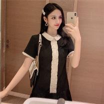 Dress Summer of 2019 black S,M,L,XL Short skirt singleton  Short sleeve commute Doll Collar High waist Solid color Socket Ruffle Skirt routine Korean version Ruffles, stitching