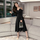 Dress Autumn of 2019 black S,M,L,XL Mid length dress singleton  Long sleeves commute V-neck High waist Solid color zipper Big swing pagoda sleeve Others Type A Retro Splicing, mesh