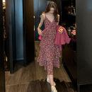 Dress Summer 2020 Decor S,M,L,XL Mid length dress singleton  Sleeveless commute V-neck High waist Broken flowers zipper A-line skirt camisole Type A Korean version zipper