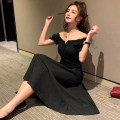 Dress Summer of 2019 black S,M,L,XL Mid length dress singleton  Short sleeve commute One word collar High waist Solid color Socket Big swing bishop sleeve Others 18-24 years old Type A Retro Frenulum
