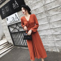 Dress Winter of 2018 Khaki, red S,M,L,XL longuette singleton  Long sleeves commute V-neck High waist Solid color Socket A-line skirt bishop sleeve Others 18-24 years old Type A Korean version Tuck, lace up knitting