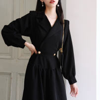 Dress Autumn of 2019 black S,M,L,XL,2XL Mid length dress singleton  Long sleeves commute V-neck High waist Solid color zipper A-line skirt bishop sleeve Others Type A Korean version Button, button