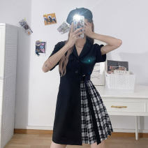 Dress Summer 2021 black XS,S,M,L,XL Short skirt singleton  Short sleeve commute V-neck High waist Solid color zipper A-line skirt routine Others 18-24 years old Type A Korean version Lace up, stitching, button, zipper