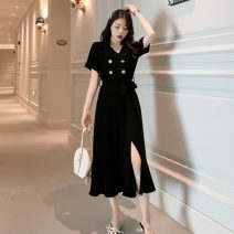 Dress Summer 2021 black S,M,L,XL,2XL,3XL longuette singleton  Short sleeve commute tailored collar High waist Solid color double-breasted Big swing routine Others Type A Retro