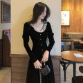 Dress Autumn 2020 black S,M,L,XL Mid length dress singleton  Long sleeves commute Crew neck High waist Solid color Socket A-line skirt routine Others Type A Retro Button, button