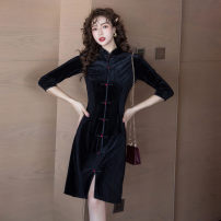 Dress Winter 2020 black S,M,L,XL,2XL Middle-skirt singleton  three quarter sleeve commute stand collar High waist Solid color Single breasted One pace skirt other Others Type A Retro Button