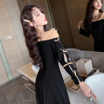 Dress Autumn 2020 Black Roman fabric, black velvet fabric S,M,L,XL Mid length dress singleton  Long sleeves commute One word collar High waist Solid color Socket A-line skirt other Others Type A Retro Bowknot, stitching, mesh