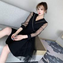 Dress Autumn 2020 black S,M,L,XL,2XL Short skirt singleton  Long sleeves V-neck High waist Solid color zipper A-line skirt routine Type A Splicing, mesh