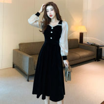 Dress Winter 2020 black S,M,L,XL,2XL longuette singleton  Long sleeves commute square neck High waist Solid color Socket A-line skirt bishop sleeve Others Type A Splicing