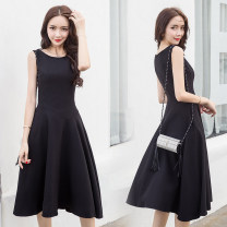 Dress Summer of 2018 black S,M,L,XL Mid length dress singleton  Sleeveless commute Crew neck High waist Solid color zipper Big swing Others 18-24 years old Type A Other / other Simplicity zipper