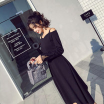 Dress Spring of 2018 black S,M,L,XL,2XL Mid length dress singleton  Long sleeves commute One word collar High waist Solid color zipper Big swing routine Others Type A Other / other Retro Stitching, zipper, lace