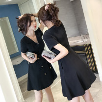 Dress Summer of 2018 black S,M,L,XL,2XL Middle-skirt singleton  Short sleeve commute V-neck middle-waisted Solid color double-breasted A-line skirt routine 18-24 years old Type A Other / other Korean version Button