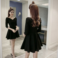 Dress Spring 2017 Short skirt singleton  three quarter sleeve commute V-neck High waist Solid color zipper Big swing routine Others Type A Other / other Korean version Splicing 31% (inclusive) - 50% (inclusive) brocade