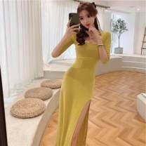 Dress Summer 2020 Yellow, black Average size longuette singleton  elbow sleeve commute High waist Solid color A-line skirt routine Others 18-24 years old Type H Ezrin