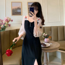 Women's large Spring 2021, summer 2021, autumn 2021 Black [French girl] M [80-95 Jin], l [95-115 Jin], XL [115-135 Jin], 2XL [135-150 Jin], 3XL [150-170 Jin], 4XL [170-200 Jin] Dress singleton  commute easy moderate Socket elbow sleeve Retro square neck routine Others, polyester Lotus leaf sleeve