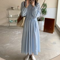 Dress Spring 2021 blue Average size longuette singleton  Long sleeves commute Crew neck Elastic waist Solid color A-line skirt puff sleeve Others 18-24 years old Type A Korean version 0324g 30% and below