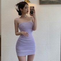 Dress Summer 2021 Taro purple S,M,L Short skirt singleton  Sleeveless commute High waist Solid color Socket One pace skirt camisole 18-24 years old Type A Korean version Pleat, web 0324g 30% and below other
