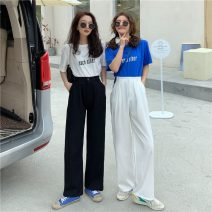 Casual pants White, black M, L Summer 2021 trousers Wide leg pants High waist commute routine 18-24 years old 96% and above 0315g other Korean version cotton