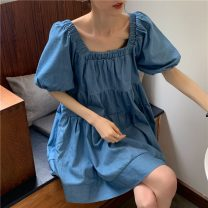 Dress Summer 2021 blue Average size Short skirt singleton  Short sleeve commute square neck High waist Solid color A-line skirt bishop sleeve Others 18-24 years old Type A Retro 0315g 31% (inclusive) - 50% (inclusive)