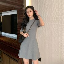 Dress Summer 2021 Gray, red, black Average size Middle-skirt singleton  Short sleeve Crew neck middle-waisted Solid color Socket A-line skirt routine Others 18-24 years old Type A 0324g More than 95% cotton