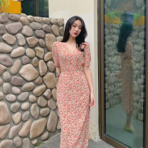 Dress Summer 2021 Picture color S, M Mid length dress singleton  Short sleeve commute other High waist Broken flowers other A-line skirt routine Others 18-24 years old Korean version C0315 31% (inclusive) - 50% (inclusive) other polyester fiber