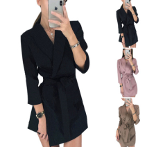 Dress Spring 2021 Khaki, black, pink S,M,L,XL,2XL,3XL Short skirt singleton  Long sleeves street tailored collar middle-waisted other other A-line skirt routine Others 25-29 years old Type A Lace up, stitching 31% (inclusive) - 50% (inclusive) other polyester fiber Europe and America