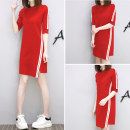 Dress Summer 2020 Black, red, white S,M,L,XL,2XL,3XL singleton  Short sleeve commute High waist Solid color Socket A-line skirt routine Others Korean version other other
