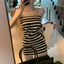 Dress Spring 2021 Striped dress S,M,L Short skirt singleton  Sleeveless commute One word collar High waist stripe Socket other other Breast wrapping 18-24 years old Other / other Korean version Open back, stitching other