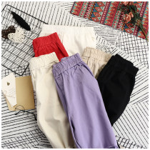 Casual pants White red purple Khaki black apricot S M L XL Summer of 2018 Ninth pants High waist commute routine 18-24 years old 0607305 other