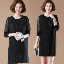 Middle aged and old women's wear Winter 2020, autumn 2020 9178 black, 9181 black, 2804 black, 9177 black L,XL,XXL,XXXL,4XL,5XL fashion Dress easy singleton  Solid color 40-49 years old Socket moderate Crew neck Medium length routine Gauze sleeve dress Monroembes Diamond inlay Medium length other