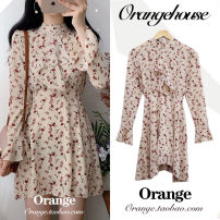 Dress Spring 2020 Picture color S,M,L,XL Short skirt singleton  Long sleeves Sweet stand collar High waist Broken flowers zipper A-line skirt pagoda sleeve Others 18-24 years old Type A Bow, tie, print Chiffon college