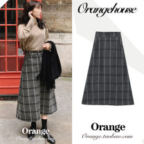 skirt Winter of 2019 S,M,L,XL Black ash Mid length dress Versatile High waist A-line skirt lattice Type A 18-24 years old Wool Other / other zipper