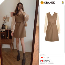 Dress Spring 2021 Khaki, black S,M,L,XL Short skirt Fake two pieces Long sleeves commute V-neck High waist Solid color zipper A-line skirt puff sleeve Others 18-24 years old Type A Korean version Bow tie Chiffon other