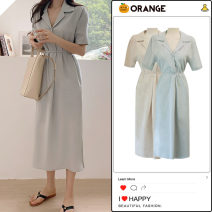 Dress Summer 2020 Blue, Khaki S,M,L Mid length dress singleton  Short sleeve commute tailored collar High waist Solid color Three buttons A-line skirt shirt sleeve Others 18-24 years old Type A Korean version Bows, pockets, ties, buttons