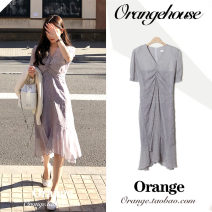 Dress Summer 2020 lilac colour S,M,L,XL Mid length dress singleton  Short sleeve commute V-neck High waist Broken flowers zipper Ruffle Skirt puff sleeve 18-24 years old Type A Korean version Bow, print Chiffon
