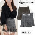 skirt Winter of 2018 S,M,L,XL Brown, grey Short skirt commute High waist Ruffle Skirt lattice Type A 18-24 years old 30% and below Other / other Ruffles, folds, asymmetry, stitching Korean version
