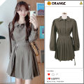 Dress Autumn 2020 Picture color S,M,L,XL Short skirt Long sleeves Sweet Polo collar High waist Solid color Single breasted Pleated skirt puff sleeve 18-24 years old Type A Button college