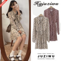 Dress Autumn of 2018 Apricot, pink S,M,L,XL Short skirt singleton  Long sleeves commute Doll Collar High waist Broken flowers Single breasted A-line skirt shirt sleeve Others 18-24 years old Type A Other / other Korean version Bow, ruffle, lace, bandage, print Chiffon