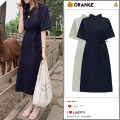 Dress Summer 2020 Apricot, Navy, khaki S,M,L,XL Miniskirt singleton  Short sleeve commute Polo collar Loose waist Solid color Three buttons A-line skirt other Others 18-24 years old Type A Korean version Bows, ties, buttons