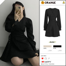 Dress Spring 2021 Apricot, black S,M,L,XL Short skirt singleton  Long sleeves Sweet V-neck High waist Solid color A-line skirt shirt sleeve Others 18-24 years old Type A 81% (inclusive) - 90% (inclusive) other college