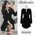 Dress Winter of 2019 black S,M,L,XL Short skirt singleton  Long sleeves commute Polo collar High waist Solid color Socket A-line skirt routine Others 18-24 years old Type A Other / other Korean version Button, button other
