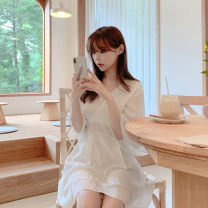 Dress Summer of 2019 White, black S,M,L,XL Short skirt singleton  Short sleeve commute V-neck High waist Solid color A-line skirt Others 18-24 years old Type A Other / other Korean version