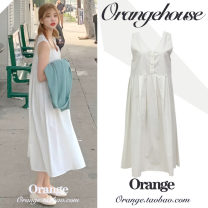 Dress Summer 2020 white Average size Mid length dress singleton  Short sleeve commute V-neck Loose waist Solid color Three buttons Big swing other Others 18-24 years old Type A Korean version Button