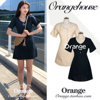 Dress Summer 2021 Apricot, Navy S,M,L,XL Short skirt singleton  Short sleeve Sweet V-neck High waist Solid color Three buttons A-line skirt routine 18-24 years old Type A Bowknot, lace, stitching, strap, button JZW1078 hemp college