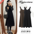 Dress Winter of 2018 Brown, black S,M,L,XL Mid length dress singleton  Sleeveless commute V-neck High waist Solid color Big swing other straps 18-24 years old Type A Other / other Korean version straps