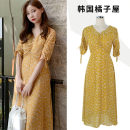 Dress Summer of 2019 yellow S,M,L,XL Mid length dress singleton  Short sleeve commute V-neck High waist Decor zipper A-line skirt other Others 18-24 years old Type A Other / other Korean version Chiffon