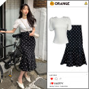 Fashion suit Summer 2021 S,M,L,XL Apricot top, polka dot apricot skirt, white top, black skirt 18-25 years old 91% (inclusive) - 95% (inclusive) polyester fiber
