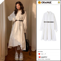 Dress Spring 2021 White belt S,M,L,XL longuette singleton  Long sleeves commute Polo collar High waist Solid color Socket Irregular skirt shirt sleeve Others 18-24 years old Type A Other / other Korean version